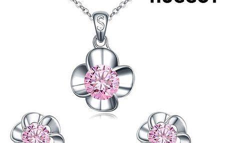 Sada potažená rhodiem: Přívěsek a náušnice se zirkony Pink Flower Hûggot 45 cm