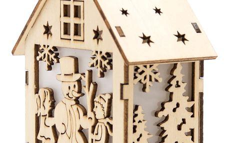 Dřevěný dekorační domeček svítící - Sněhulák