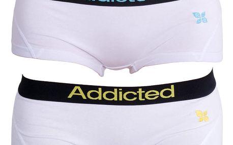 2PACK Dámské Kalhotky Addicted Bílá Modrá Bílá Žlutá L