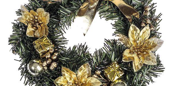 HTH Zdobený vánoční věnec pr. 25 cm zlatá