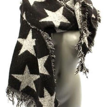 Velká dámská zimní šála black STAR