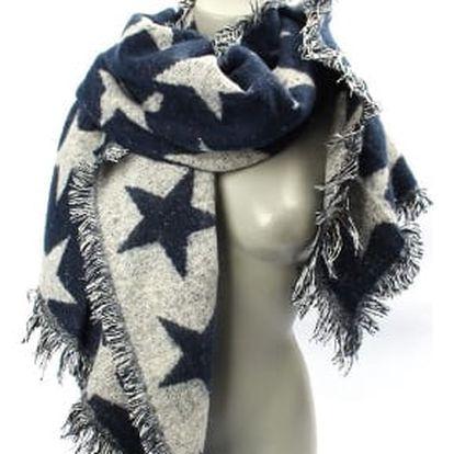 Velká dámská zimní šála blue STAR