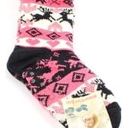 Dámské vyteplené ponožky pink and black RIENDEER