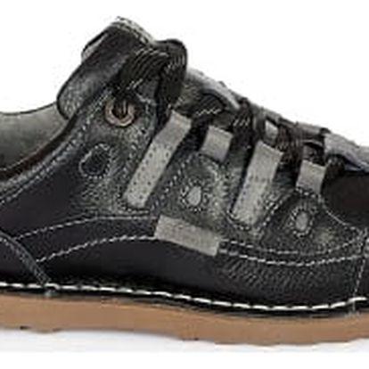 Dámské kožené boty Casual Fashion černo-šedé 441