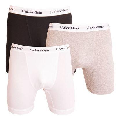 3PACK pánské boxerky Calvin Klein bílo černo šedé XL