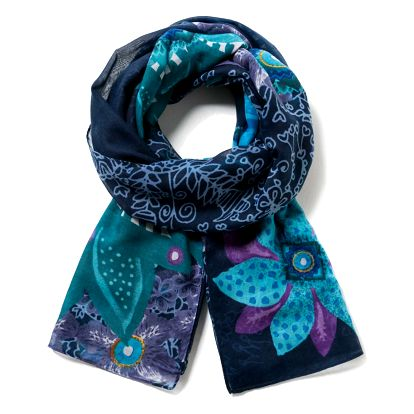 Desigual modrý šátek Rect. Bollywood