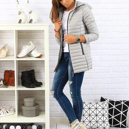 Šedá dámská prošívaná bunda s kapucí (ty0117) Barva: šedá, Velikost: L