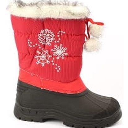 Krásné dětské sněhule s vločkou červené
