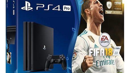 Herní konzole Sony PRO 1TB + FIFA18 Ronaldo Edition + PS Plus 14 dní (PS719917267) černá + DOPRAVA ZDARMA