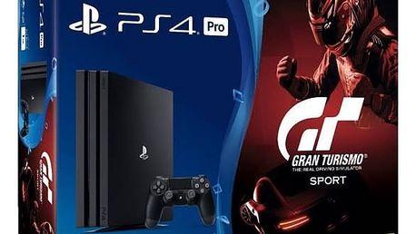 Herní konzole Sony PlayStation 4 PRO 1TB + Gran Turismo Sport + PS Plus 14 dní (PS719905967) černá + Doprava zdarma
