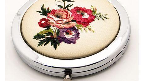 Kapesní kosmetické zrcátko Retro Flowers pivoňky barevné