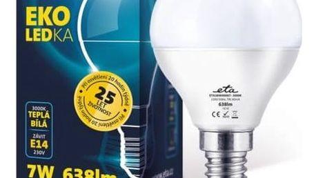Žárovka LED ETA EKO LEDka mini globe, 7W, E14, teplá bílá (G45-PR-638-16A) bílá + Doprava zdarma