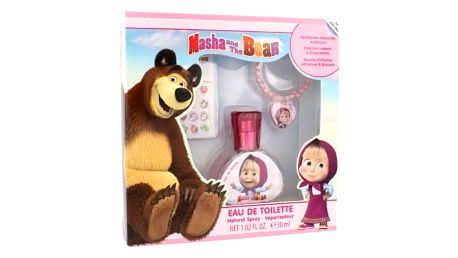 Disney Masha and The Bear dárková kazeta toaletní voda 30 ml + náušnice + náramek