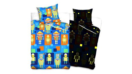 Tip Trade Dětské bavlněné svíticí povlečení Roboti, 140 x 200 cm, 70 x 80 cm