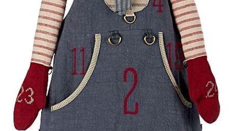 Maileg Adventní kalendář skřítek Pixy Boy 126 cm, červená barva, modrá barva, textil
