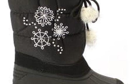 Krásné dětské sněhule s vločkou černé