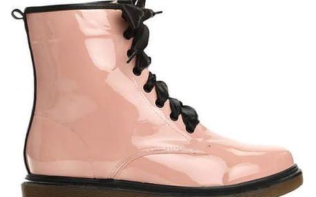 Dámské růžové lakované kotníkové boty Glance 6149