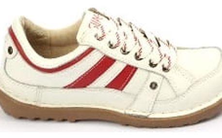 Kvalitní dámské kožené boty SUPER IN Strips White-red