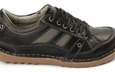 Kvalitní dámské kožené boty SUPER IN Strips Black