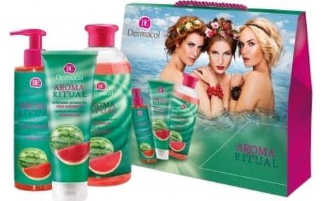 Dermacol Aroma Ritual Fresh Watermelon dárková kazeta pro ženy pěna do koupele 500 ml + sprchový gel 250 ml + tekuté mýdlo 250 ml