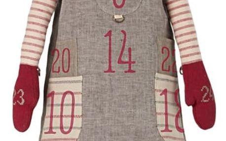 Maileg Adventní kalendář skřítek Pixy Girl 126 cm, červená barva, šedá barva, textil
