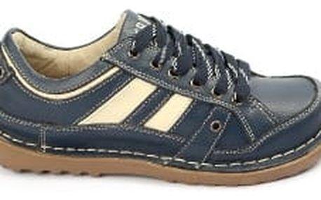 Kvalitní dámské kožené boty SUPER IN Strips Navy-beige