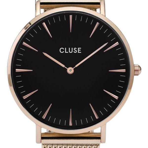 CLUSE Hodinky Cluse La Bohème Mesh Rose Gold/Black, černá barva, měděná barva, zlatá barva, kov