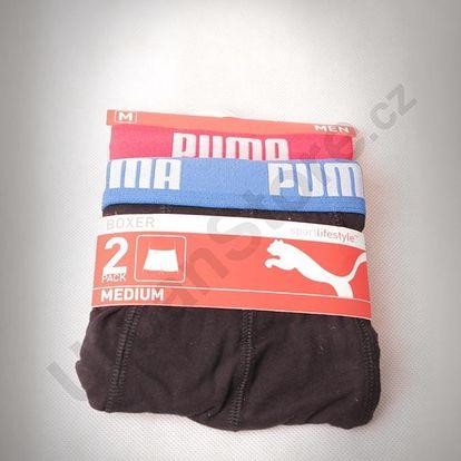 Boxerky Puma Basic Boxer 2 Pack red-blue Černá