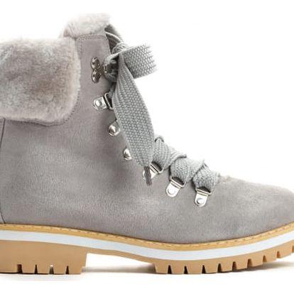 Dámské světle šedé kotníkové boty Adonis 9091