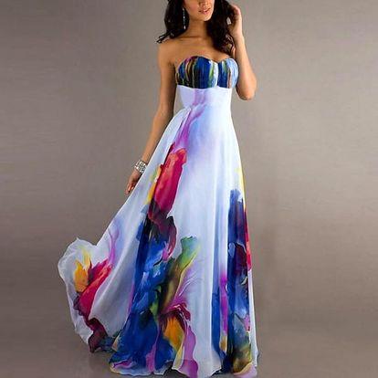 Dámské šaty bez ramínek s barevným motivem