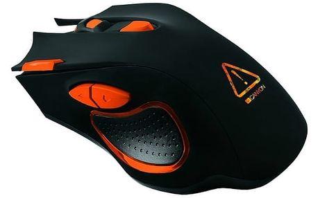 Myš Canyon Corax (CND-SGM5N) černá/oranžová / optická / 7 tlačítek / 6400dpi