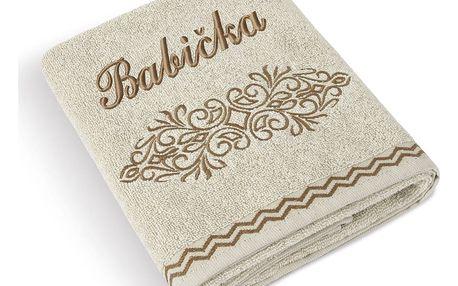 Bellatex Froté ručník 50x100 Béžová řada 169/015 s výšivkou Babička