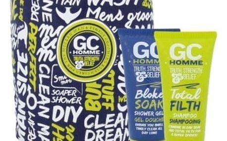 Grace Cole Homme Bloke Soak dárková kazeta pro muže sprchový gel Bloke Soak 100 ml + šampon Total Filth 100 ml + sáček