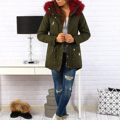 Khaki dámská zimní bunda parka (ty0148) Barva: Khaki, Velikost: L
