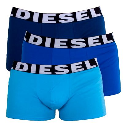 3PACK Pánské Boxerky Diesel Trunk Turquoise Royal Blue Shawn M