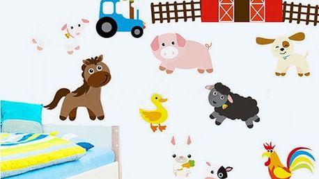 Dětská samolepka na zeď - Farma se zvířátky