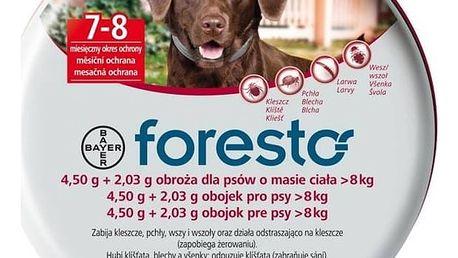 Obojek Bayer Foresto 70 cm pro psy Svítící přívěšek Bayer Foresto kost - červený (zdarma)
