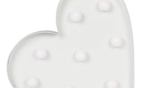 sass & belle Svítící LED srdce white, bílá barva, kov, plast
