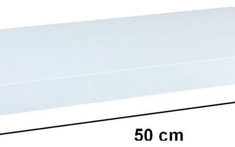STILISTA 31046 Nástěnná police VOLATO - lesklá bílá 50 cm