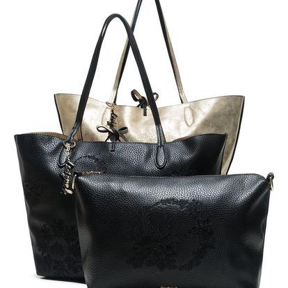 Desigual oboustranná kabelka Capri Alice v černo-zlatém provedení