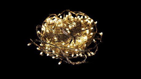 Vánoční LED osvětlení 10 m - teple bílé 100 LED s časovačem