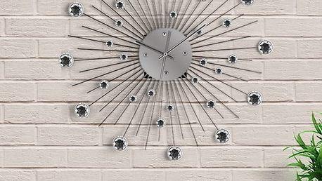 Kovové nástěnné hodiny se skleněnými ozdobami