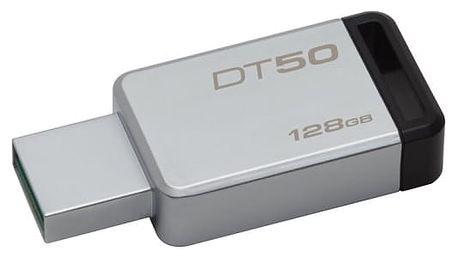 USB Flash Kingston 128GB (DT50/128GB) černý/kovový