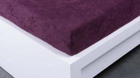 XPOSE ® Froté prostěradlo Exclusive dvoulůžko - švestková 160x200 cm