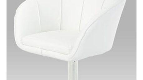 Relaxační křeslo HL-107 WT - chrom/koženka bílá