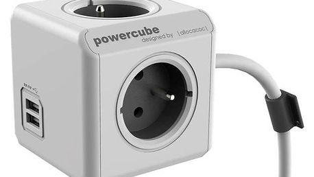 Kabel prodlužovací Powercube Extended USB, 4x zásuvka, 2x USB, 1,5m šedý/bílý + Doprava zdarma