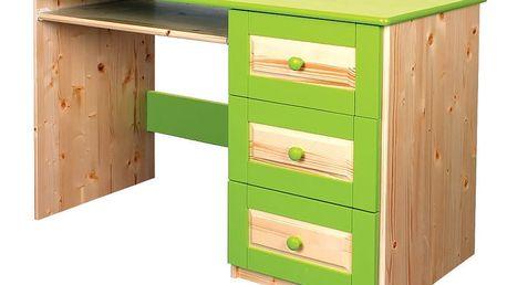 Počítačový stůl HAPPY, masiv smrk B608 PZE-přírodní zelená