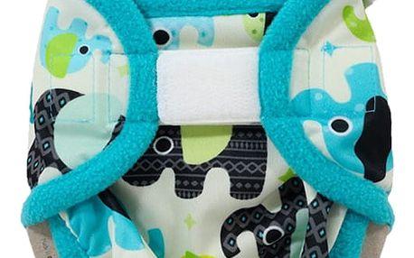 PETIT LULU Novorozenecké svrchní kalhotky (2 - 6 kg) - Sloníci (tyrkys)