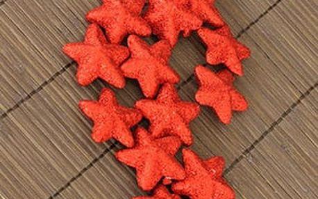 Hvězdička červená dekorační, cena za sadu 16 kusů /1 polybag.