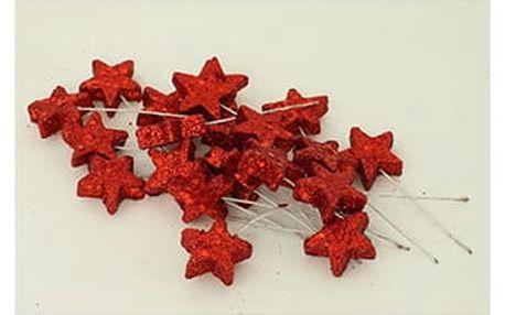 Vánoční přízdoba - hvězdička, barva červená. Cena za 20ks/1 polybag.